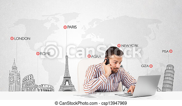 Businessman with world map and major landmarks of the world - csp13947969