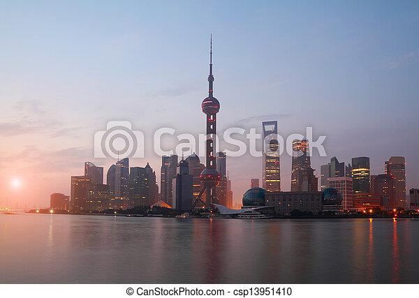 Shanghai bund landmark urban landscape at sunrise skyline  - csp13951410