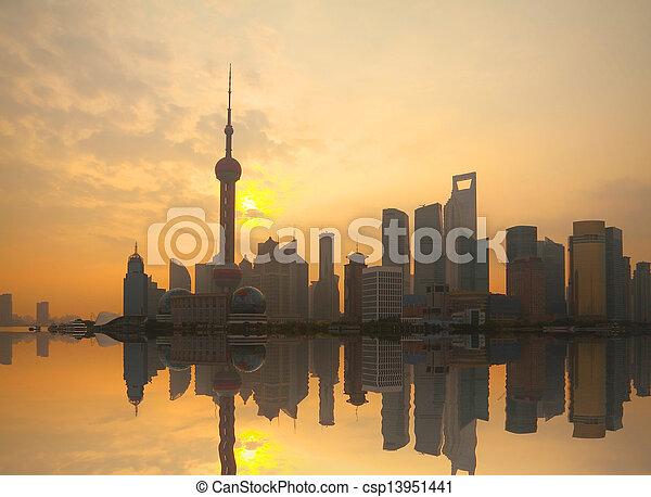 Shanghai bund landmark urban landscape at sunrise skyline  - csp13951441