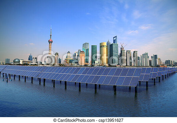 Shanghai Bund skyline landmark at Ecological energy Solar panel - csp13951627