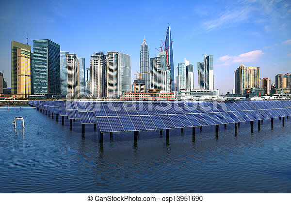 Shanghai Bund skyline landmark at Ecological energy Solar panel - csp13951690