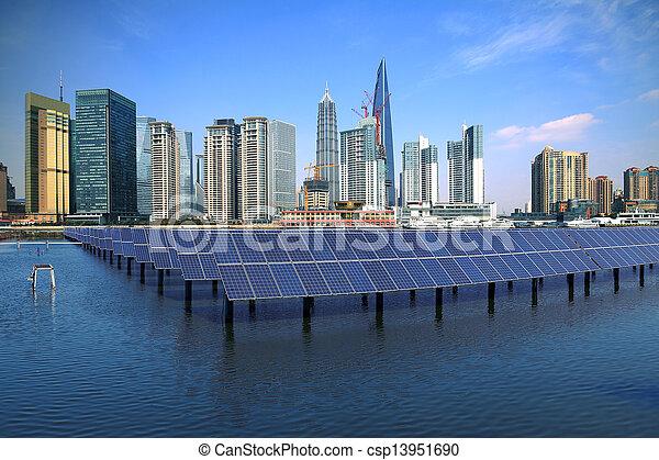 Shanghai Bund skyline landmark at Ecological energy Solar panel - csp13951690