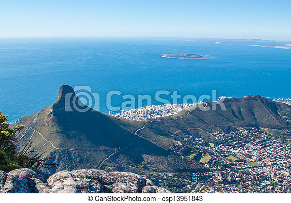 Scenic View in Cape Town, Table Mountain, South Africa  from an aerial perspective - csp13951843