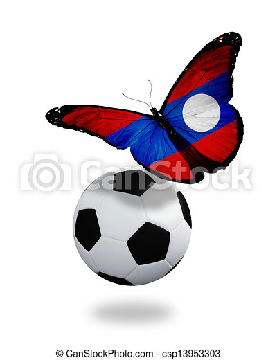 Concept - butterfly with Laotian flag flying near the ball, like football team playing - csp13953303