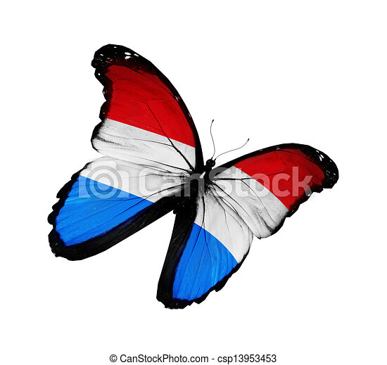 Luxembourg flag butterfly flying, isolated on white background - csp13953453