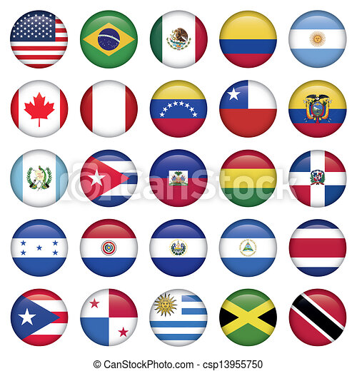 American Flags Round Icons - csp13955750