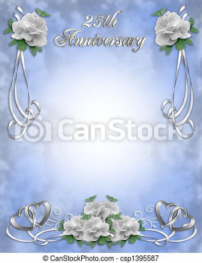 Stock Illustration Wedding Anniversary Invitation 25 y