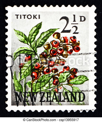 Postage stamp New Zealand 1961 Titoki Flower, Tree - csp13955917