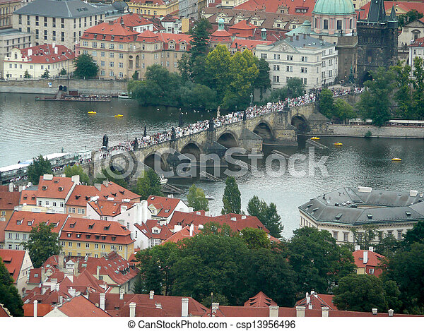 Panoramic view of Prague and city bridges, Czech Republic - csp13956496