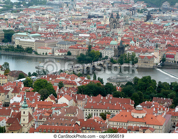 Panoramic view of Prague and city bridges, Czech Republic - csp13956519