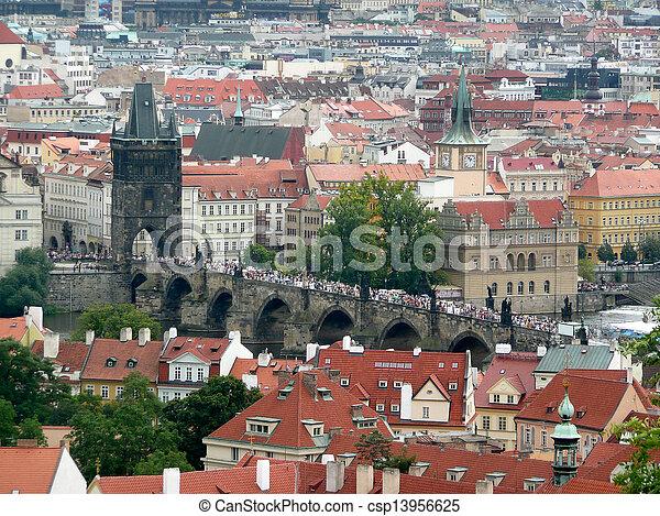 Panoramic view of Prague and city bridges, Czech Republic - csp13956625