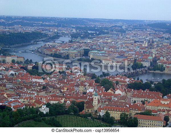 Panoramic view of Prague and city bridges, Czech Republic - csp13956654