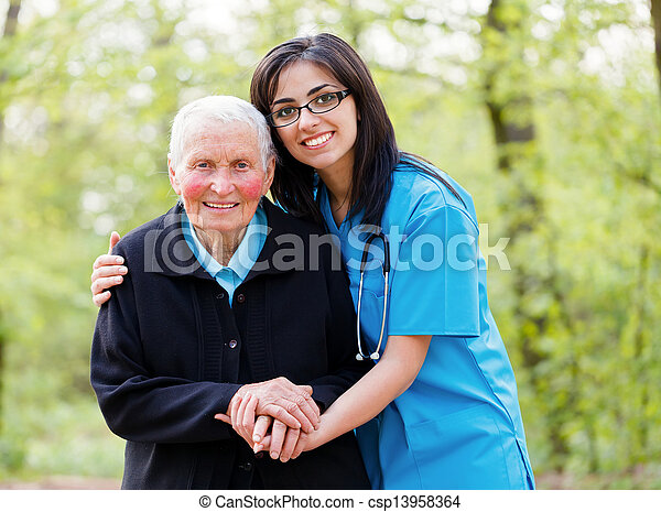 ajudando, peoplee, idoso - csp13958364
