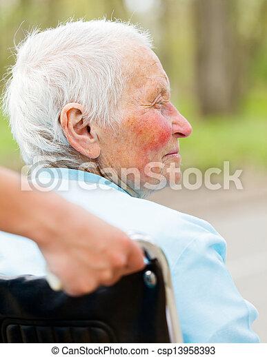 Elderly Woman In Wheelchair Outdoors - csp13958393