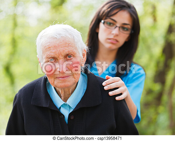 Sad Elderly Lady - csp13958471