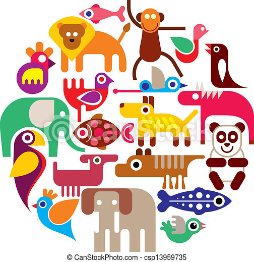 Zoo Animals - round vector - csp13959735