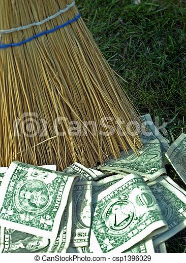 Sweeping up money - csp1396029