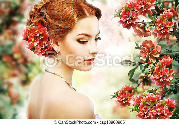Relaxation. Profile of Red Hair Beauty over Natural Floral Background. Nature. Blossom - csp13960965