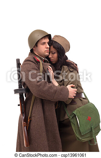 Man in military clothes hugging woman - csp13961061