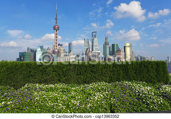 Shanghai bund landmark skyline at city buildings landscape - csp13963352