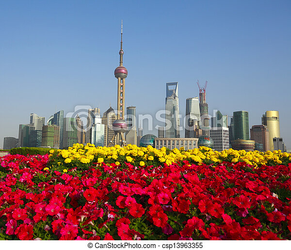 Red morning glory prospects Shanghai Bund landmark city buildings skyline - csp13963355