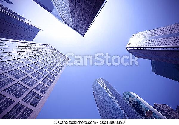 Look up modern urban office buildings in Shanghai - csp13963390