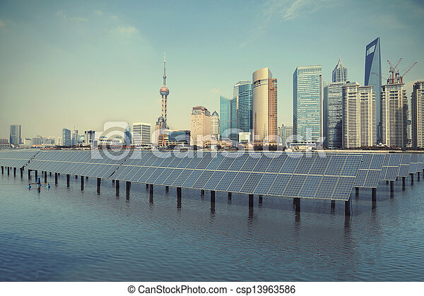 Shanghai Bund skyline landmark at Ecological energy Solar panel - csp13963586