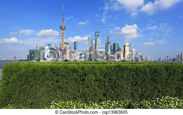 Shanghai bund landmark skyline at city buildings landscape  - csp13963605