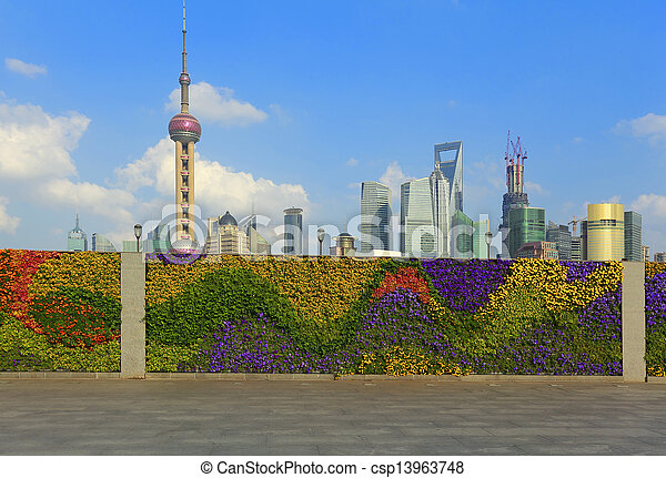 Shanghai bund landmark skyline at New city landscape - csp13963748