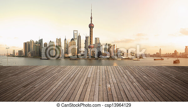 Shanghai bund landmark skyline urban buildings landscape - csp13964129