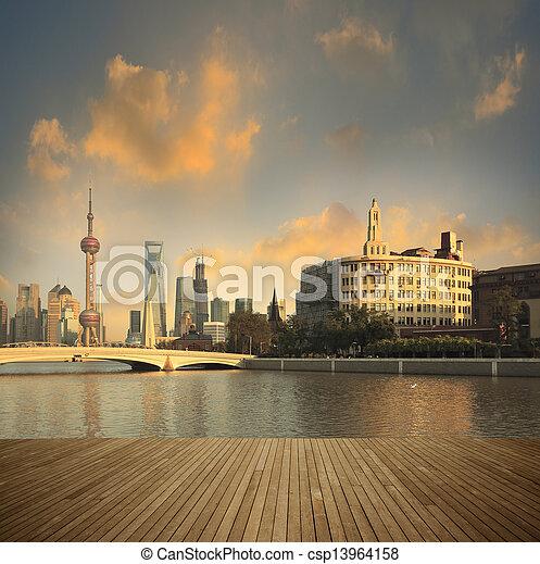 Shanghai bund landmark skyline urban buildings landscape - csp13964158
