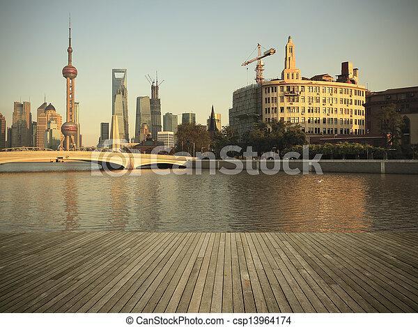 Shanghai bund landmark skyline urban buildings landscape - csp13964174
