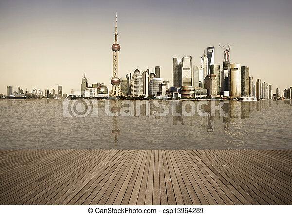 Shanghai bund landmark skyline urban buildings landscape - csp13964289