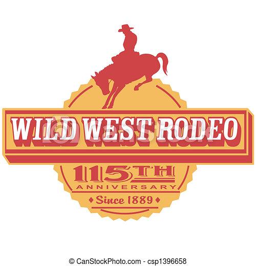 Retro Vintage Rodeo Sign Clip Art - csp1396658