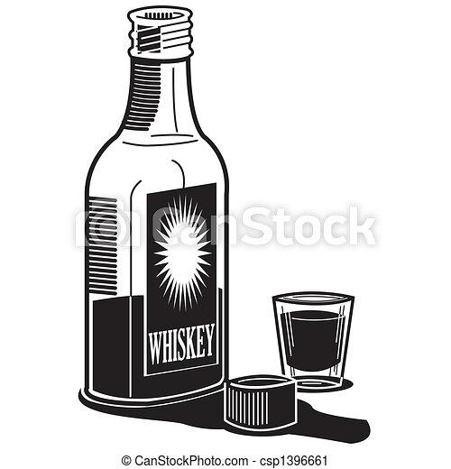 Whiskey Whisky Bottle Shot Glass - csp1396661