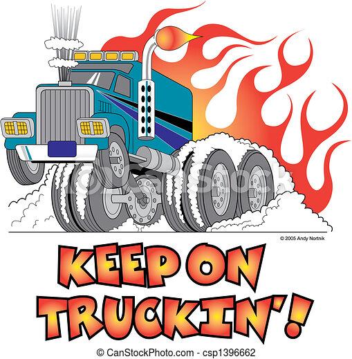 Hot Rod Semi Truck Flames Clip Art - csp1396662
