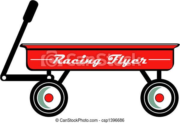 Red Wagon Retro Vintage Clip Art - csp1396686