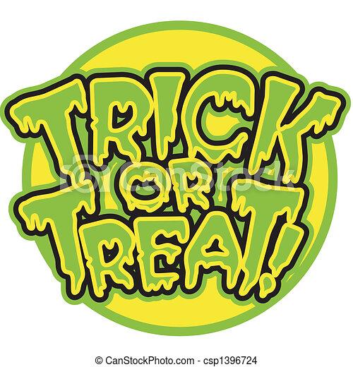 Halloween Trick Or Treat Sign - csp1396724
