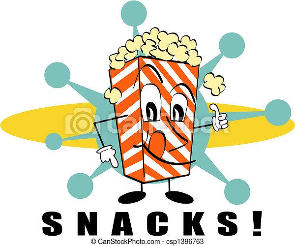 Retro Popcorn Snacks Sign Clip Art - csp1396763