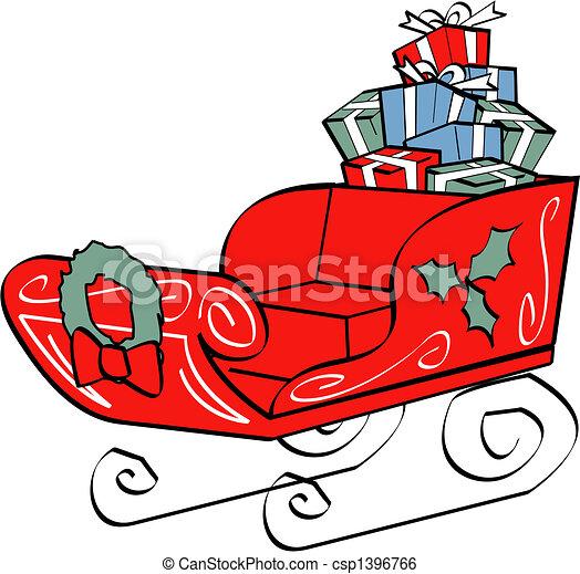 Clip Art Vector of Christmas Santa's Sleigh Clip Art - Christmas ...