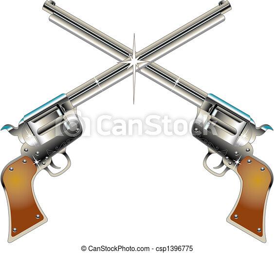 Six Guns Pistols Western Clip Art - csp1396775