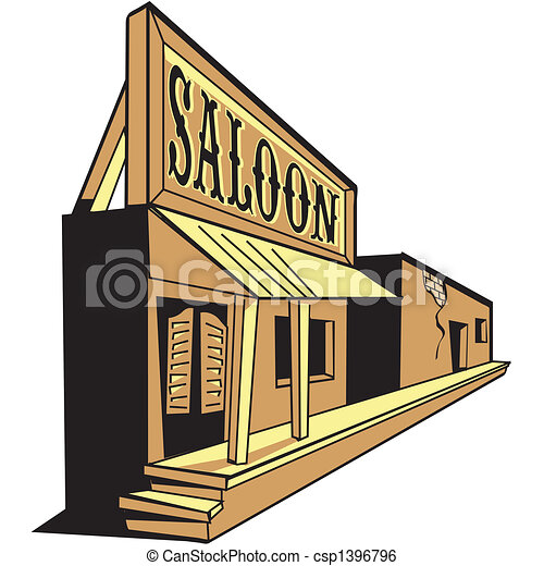 Western saloon cartoon of old west - csp1396796