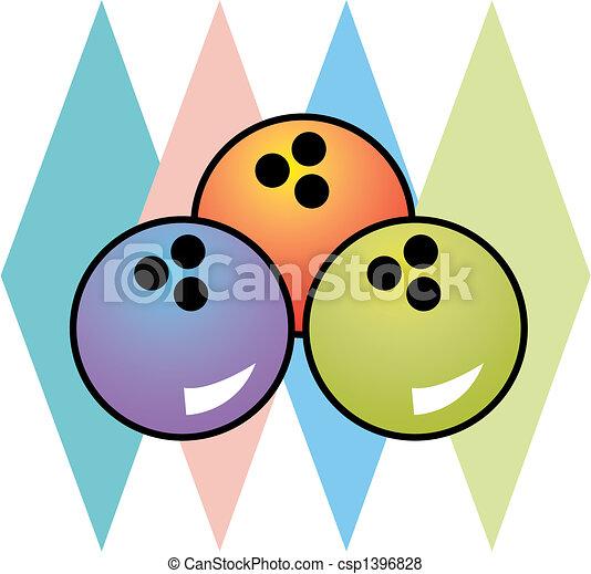 Retro Vintage 1950s Bowling Logo - csp1396828