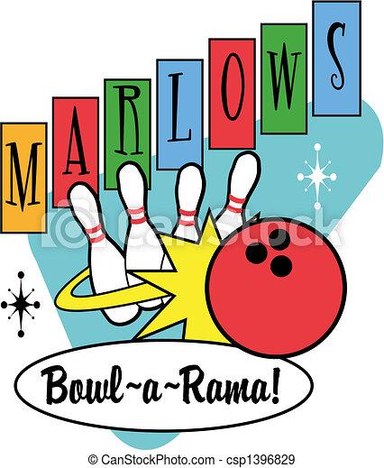 Bowling Ball Pins Retro Clip Art - csp1396829