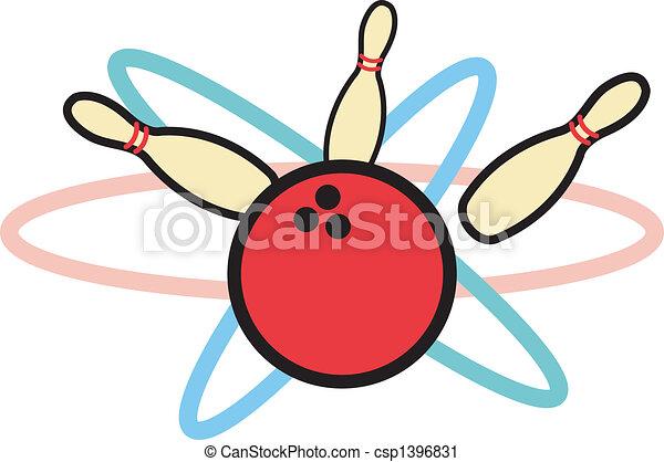 Retro Bowling Ball And Bowling Pins - csp1396831