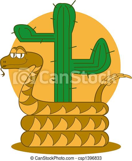 Rattle Snake Desert Cactus Clip Art - csp1396833