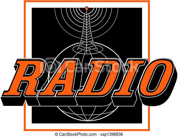 Vintage Radio Tower Sign Clip Art - csp1396836
