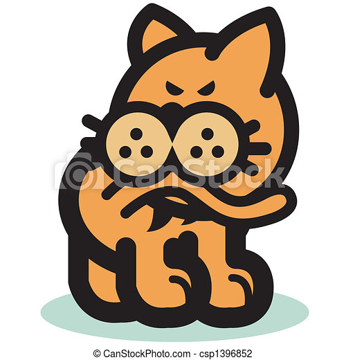 Funny Cat Biting Tail Clip Art - csp1396852