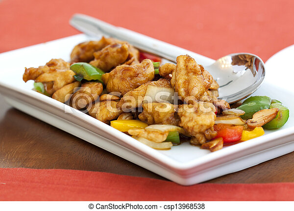 Stock Photo - Thai food, stir fired chicken with cashew nuts - stock ...