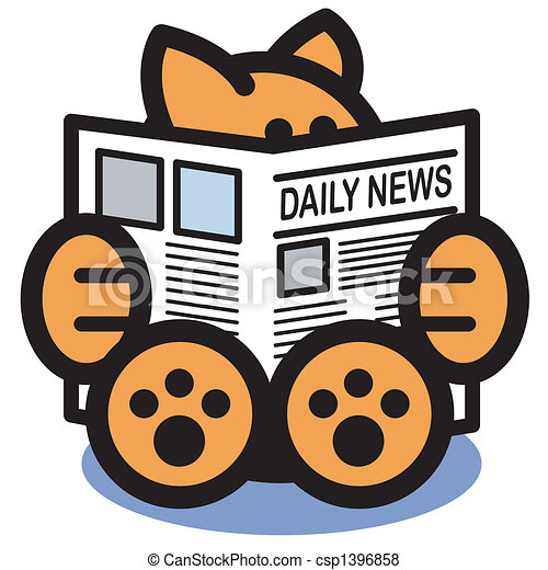 Cat Reading Newspaper Clip Art - csp1396858